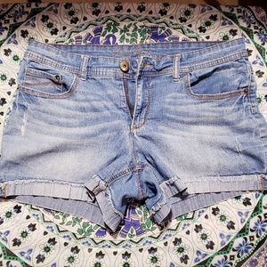 Stretch Blue Jean Shorts by Faded Glory size 14